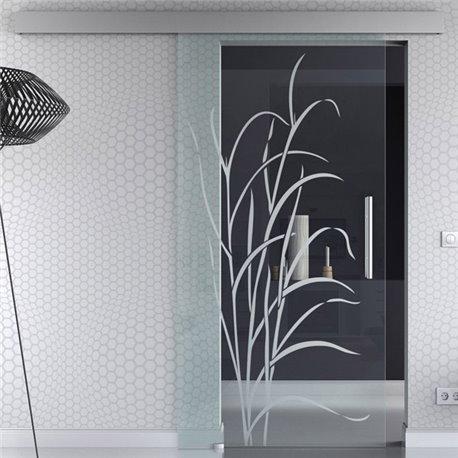 Glasschiebetür Glas Komplettset Softclose Optional 1025 / 900 / 775 mm Gräser invers