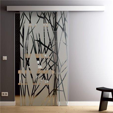 Glasschiebetür Glas Komplettset Softclose Optional 1025 / 900 / 775 mm Design Reed