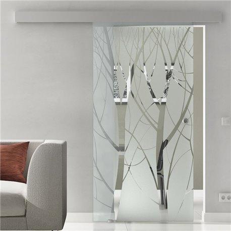 Glasschiebetür Glas Komplettset Softclose Optional 1025 / 900 / 775 mm Design Pflanzen