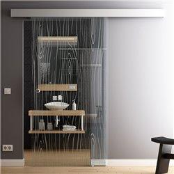 Schiebetür Glas Komplettset Softclose 1025 / 900 / 775 mm Breite Style Bauholz invers