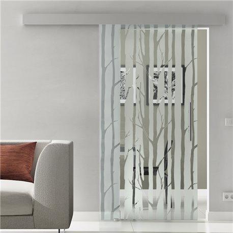 Glasschiebetür Glas Komplettset Softclose Optional 1025 / 900 / 775 mm Design Wald