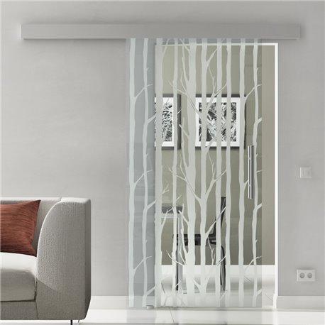 Glasschiebetür Glas Komplettset Softclose Optional 1025 / 900 / 775 mm Design Wald invers