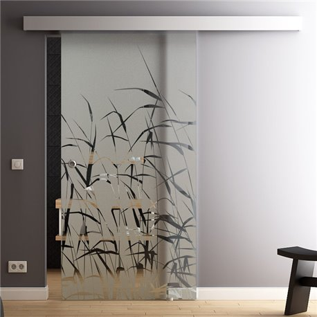 Glas-Schiebetür Glas Komplettset Softclose Optional 1025 / 900 / 775 mm Schilf