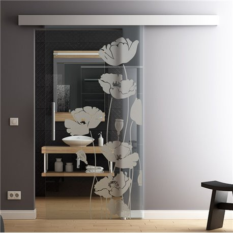 Glas-Schiebetür Glas Komplettset Softclose Optional 1025 / 900 / 775 mm Mohn invers
