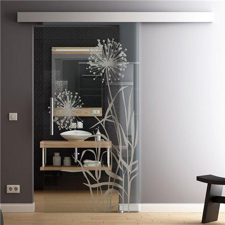 Glas-Schiebetür Glas Komplettset Softclose Optional 1025 / 900 / 775 mm Blume invers