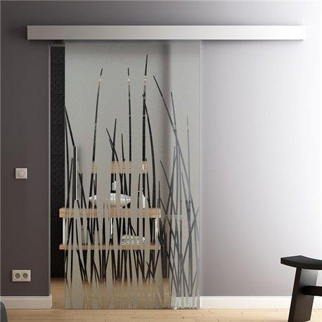 Glasschiebetür Glas Komplettset Softclose 1025 / 900 / 775 mm Breite Dünen-Design