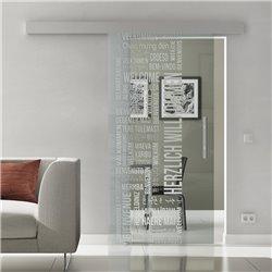 Schiebetür Glas Komplettset Softclose optional 1025 / 900 / 775 mm Breite Willkommen Design invers