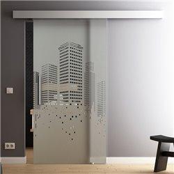 Schiebetür Glas Komplettset Softclose 1025 / 900 / 775 mm Breite Design SkyLine