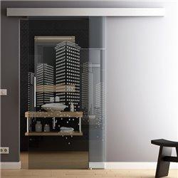 Schiebetür Glas Komplettset Softclose 1025 / 900 / 775 mm Breite Design SkyLine invers