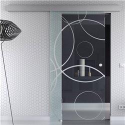 Schiebetür Glas Komplettset Softclose Optional 1025 / 900 / 775 mm Breite Design Ringe