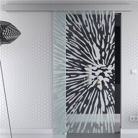 Schiebetür Glas Komplettset Softclose optional 1025 / 900 / 775 mm Design Lichtgeschwindigkeit invers