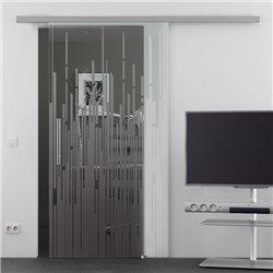 Schiebetür Glas Komplettset Softclose optional 1025 / 900 / 775 mm Breite aufgebrochene Linien Design