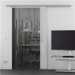 Schiebetür Glas Komplettset Softclose optional 1025 / 900 / 775 mm Breite aufgebrochene Linien Design invers