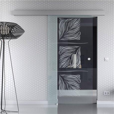 Schiebetür Glas Komplettset Softclose optional 1025 / 900 / 775 mm Breite Design Pfau invers