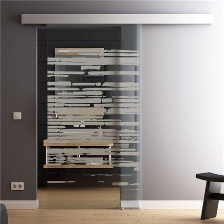 Schiebetür Glas Komplettset Softclose optional 1025 / 900 / 775 mm Breite Design Stein invers