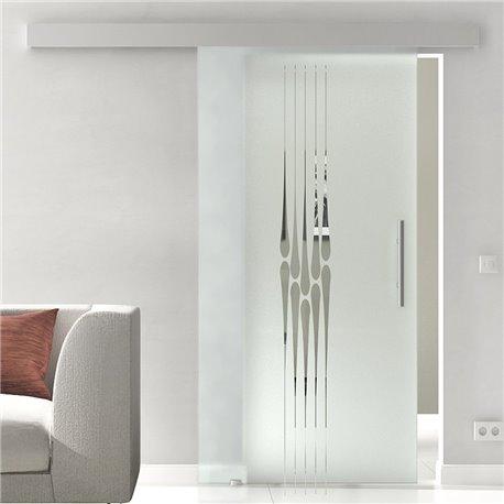 Schiebetür Glas Komplettset Softclose optional 1025 / 900 / 775 mm Breite Tropfen-Design