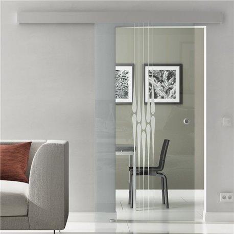 Schiebetür Glas Komplettset Softclose optional 1025 / 900 / 775 mm Breite Tropfen-Design invers