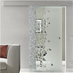 Schiebetür Glas Komplettset Softclose optional 1025 / 900 / 775 mm Breite Stein auf Stein Design