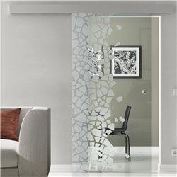 Schiebetür Glas Komplettset Softclose optional 1025 / 900 / 775 mm Breite Stein auf Stein Design invers