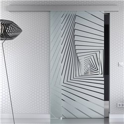 Schiebetür Glas Komplettset Softclose optional 1025 / 900 / 775 mm Breite Illusion Design