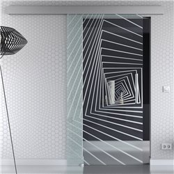Schiebetür Glas Komplettset Softclose optional 1025 / 900 / 775 mm Breite Illusion Design invers