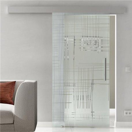 Schiebetür Glas Komplettset Softclose 1025 / 900 / 775 mm Breite Kratzer Design