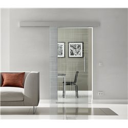 Schiebetür Glas Komplettset Softclose 1025 / 900 / 775 mm Breite Kratzer Design invers
