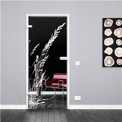 Ganzglastür / Drehtür aus ESG-Glas in Gräser-Design invers für Studio Griff und Studio Bänder