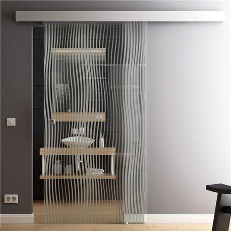 Schiebetür Glas Komplettset Softclose option 1025 / 900 / 775 mm Breite Design Wasserfall