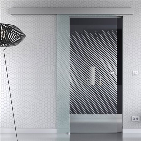 Schiebetür Glas Komplettset Softclose optional 1025 / 900 / 775 mm Breite schräge schmale Streifen mit Klarglas