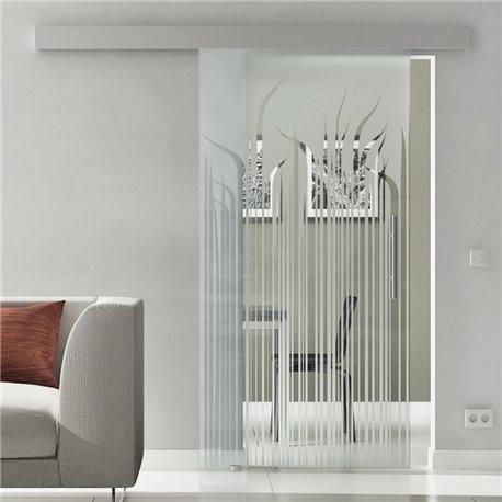 Glasschiebetür Glas Komplettset Softclose Optional 1025 / 900 / 775 mm Gräser lang