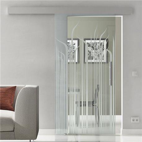 Glasschiebetür Glas Komplettset Softclose Optional 1025 / 900 / 775 mm Gräser lang mit Klarglas