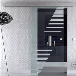 Schiebetür Glas Komplettset Softclose optional 1025 / 900 / 775 mm Breite Design-Bauhaus mit Klarglas