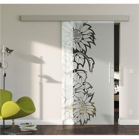 Glasschiebetür Glas Komplettset Softclose optional 1025 / 900 / 775 mm Sonnenblumen Design