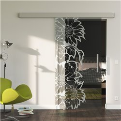 Glasschiebetür Glas Komplettset Softclose optional 1025 / 900 / 775 mm Sonnenblumen Design invers
