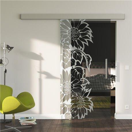 Glasschiebetür Glas Komplettset Softclose optional 1025 / 900 / 775 mm Sonnenblumen Design invers