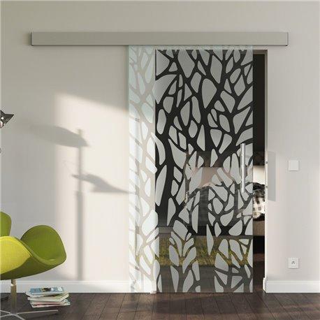 Glasschiebetür Glas Komplettset Softclose optional Design mit Baumstämmen - Made in Germany