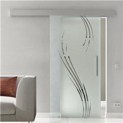Glasschiebetür Glas Komplettset Softclose Optional Levidor SlimLine Wasserpflanzen-Dessin