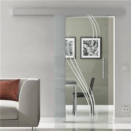 Glasschiebetür Glas Komplettset Softclose Optional Levidor SlimLine Wasserpflanzen-Dessin Klarglas