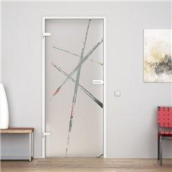 Ganzglastür / Drehtür aus ESG-Glas in Bürsten-Design für Studio Griff und Studio Bänder