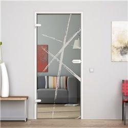 Ganzglastür / Drehtür aus ESG-Glas in Bürsten-Design invers für Studio Griff und Studio Bänder