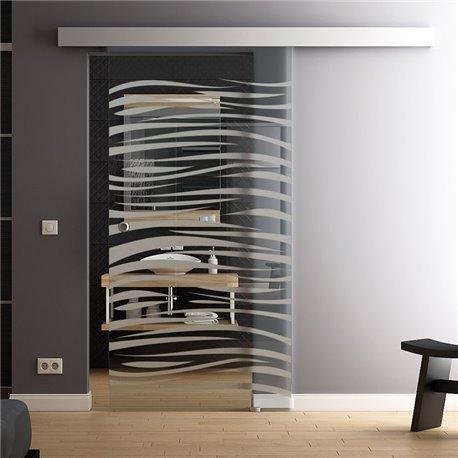 Glasschiebetueren Komplettset softclose Option Levidor aus DE in Wellen-Design invers