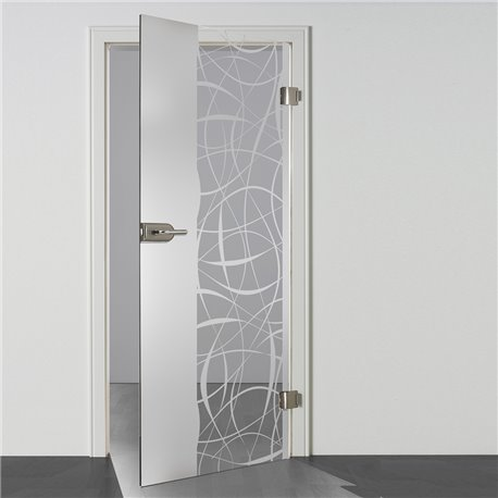 Ganzglastür Drehtür aus ESG-Glas in Satiniert Milchglas Design Wolle