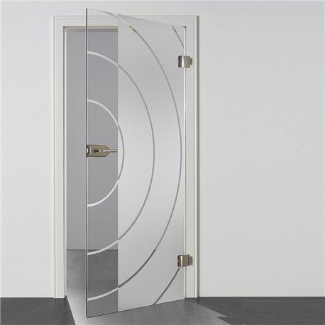 Ganzglastür / Drehtür aus ESG-Glas in Style Bauhaus Design für Studio Griff und Studio Bänder