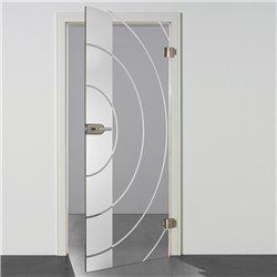 Ganzglastür / Drehtür aus ESG-Glas in Style Bauhaus Design für Studio Griff und Studio Bänder invers