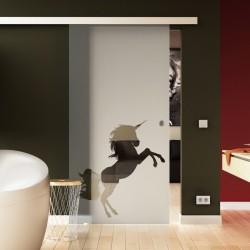 Glasschiebetür Basic-Beschlag Levidor / Glaslager.de Einhorn-Design