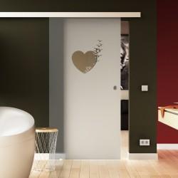 Glasschiebetür Herz-Design Schlafzimmer hochwertig SoftClose