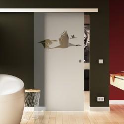 Glasschiebetür Schwan - Design Vögel Exklusiv Sonderdesign hochwertig