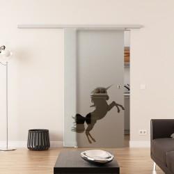 Dorma Agile 50 Glasschiebetür Einhorn-Design
