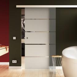 Glasschiebetür satiniert 5 waagerechte Streifen - Schiebe Tür Glas